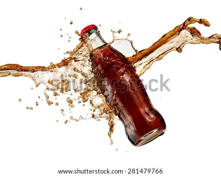 Flying brown soda water bottle splash  - stock photo