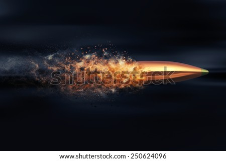 Flying bullet with dust trail - stock photo