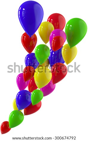 Flying bunch of balloons with helium for holiday