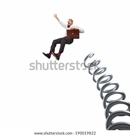 flying businessman and huge metal spring on white background - stock photo