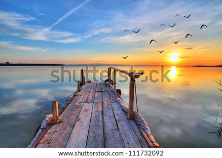 flying by the lake - stock photo