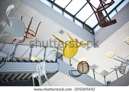 flying chairs - stock photo
