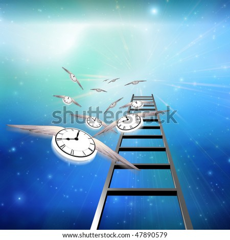 Flying Clocks and Ladder - stock photo