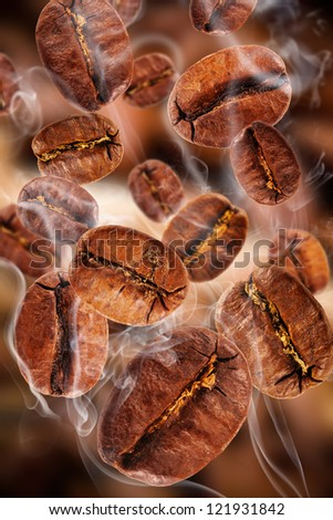 Flying coffee beans in smoke - stock photo