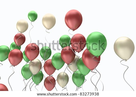 flying colorful balloons on a white background