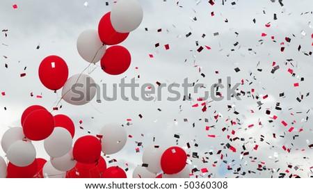 Flying confetti. - stock photo