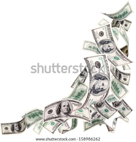 Flying 100 dollar banknotes isolated on white - stock photo