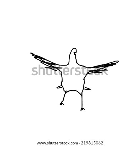 Flying dove. Illustration. Sketch style.