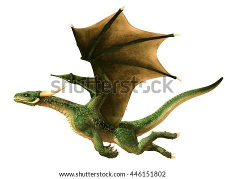 Flying dragon isolated on white background 3d illustration - stock photo