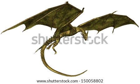 Flying dragon with green metallic scales, 3d digitally rendered illustration - stock photo