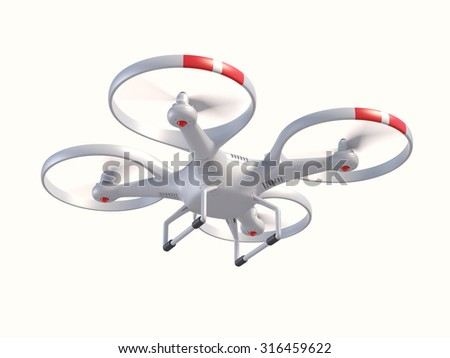 Flying drone 3d illustration - stock photo