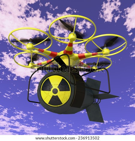 Flying drone to which is attached nuclear bomb. - stock photo
