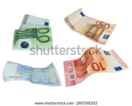 Flying Euro banknotes isolated on white background - stock photo