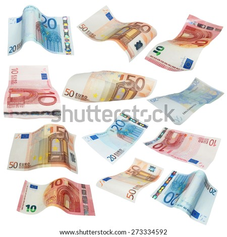Flying Euro banknotes isolated on white background, with clipping path, (high resolution) - stock photo