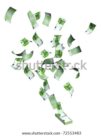 Flying euro banknotes. Objects isolated over white