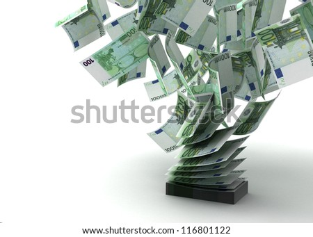 Flying Euros (isolated with clipping path) Computer generated images - stock photo
