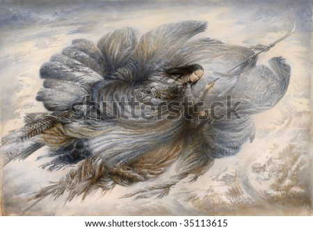 Flying fairy in the Japanese style. Made by tempera on paper. - stock photo