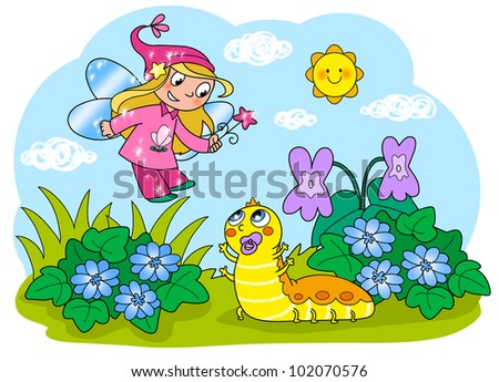 Flying fairy with wand and cute baby caterpillar. Digital illustration for children - stock photo