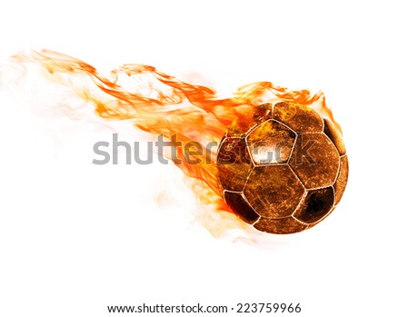 flying fiery ball on white background - stock photo