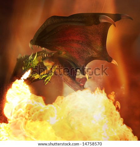 Flying fiery dragon in the dark sky. Illustration. 3D render. - stock photo
