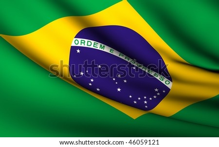 Flying Flag of Brazil | All Countries Collection | - stock photo
