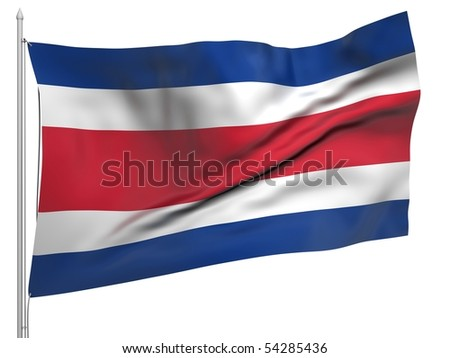 Flying Flag of Costa Rica - All Countries Collection.