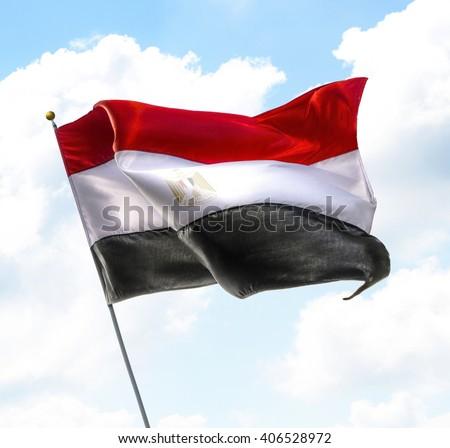 Flying Flag of Egypt Raised Up in The Sky - stock photo