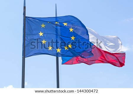 Flying Flags of Czech Republic and European Union