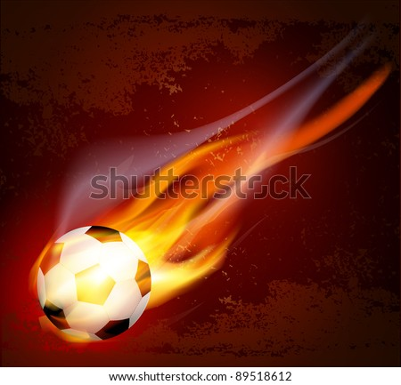 flying flaming soccer ball on a brown background (JPEG version) - stock photo