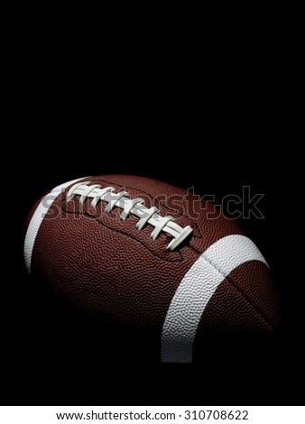Flying Football on Black - stock photo