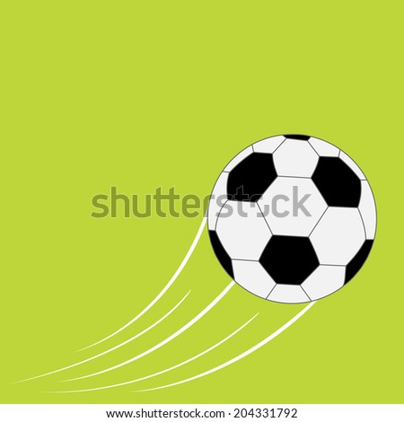 Flying football soccer ball with motion trails. Flat design style. Green background.