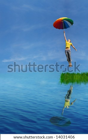 flying from the island - stock photo