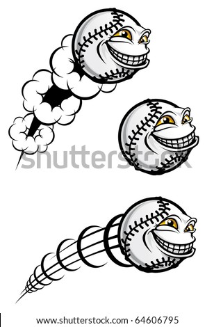 Flying funny baseball ball isolated on white - also as emblem. Vector version also available in gallery