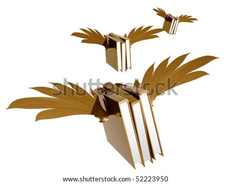flying gold educational books illustration - stock photo