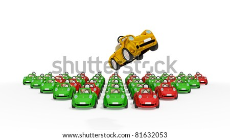Flying golden car and lots of usual cars. 3d rendered. Isolated on white background. - stock photo