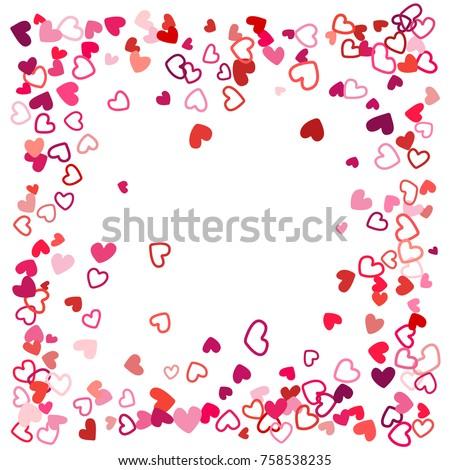 Flying Hearts Frame Image Border Background Stock Illustration