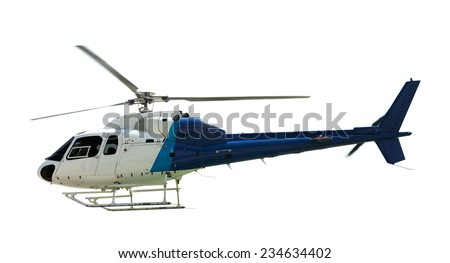 Flying helicopter, isolated on white - stock photo