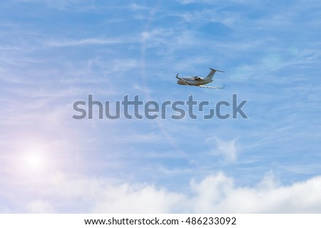 flying in sunny day