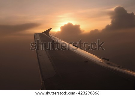 Flying in sunset - stock photo