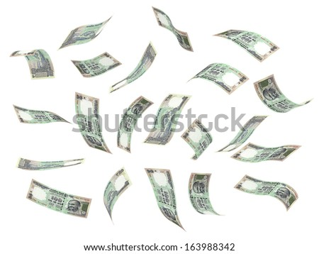 Flying Indian Rupee (isolated with clipping path)