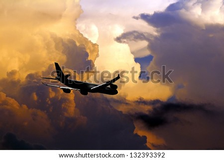 Flying into the storm - stock photo