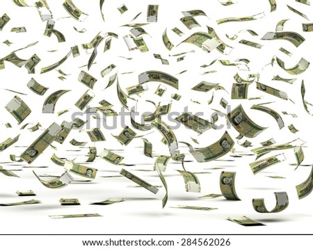 Flying Iranian Rial (isolated with clipping path) - stock photo