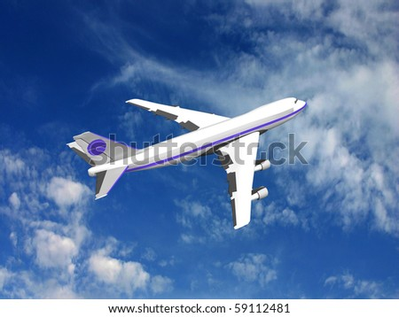 Flying jet airplane, 3D render. - stock photo