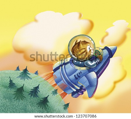 Flying Kitten. Foxy tabby cat flying on blue rocket from the fairy land in the yellow sky strait to space. He worn in transparent helmet, behind left green land with trees. The kitten is a story hero. - stock photo