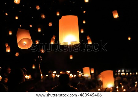Flying lantern yee peng Lanna International Festival at Chiangmai, Thailand