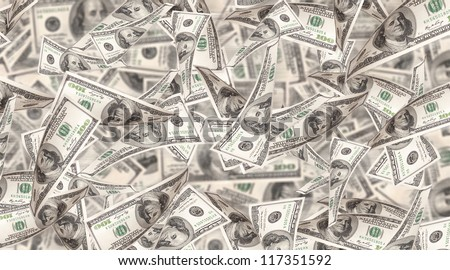 Flying Money - american dollars background - stock photo