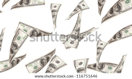 Flying Money - american dollars isolated on a white background - stock photo