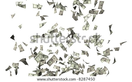 Flying money illustration - stock photo