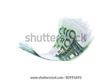 Flying money notes, euro, isolated as element