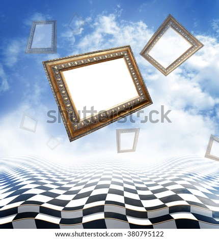 Flying ?ncient carved baguettes on an abstract fantasy background with checkerboard floor  - stock photo